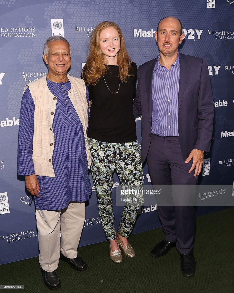 Nobel Peace Prize laureate Dr. <a gi-track='captionPersonalityLinkClicked' href=/galleries/search?phrase=Muhammad+Yunus&family=editorial&specificpeople=634405 ng-click='$event.stopPropagation()'>Muhammad Yunus</a>, supermodel <a gi-track='captionPersonalityLinkClicked' href=/galleries/search?phrase=Lily+Cole&family=editorial&specificpeople=206320 ng-click='$event.stopPropagation()'>Lily Cole</a>, and Forbes editor Randall Lane attends the 2014 Social Good Summit at 92Y on September 22, 2014 in New York City.