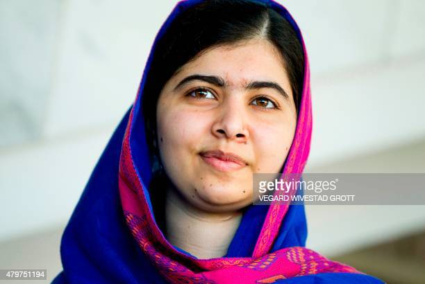 Nobel Peace Prize Laureate Malala Yousafzai attends the Oslo Summit on Education for Development at Oslo Plaza in Oslo Norway on July 2015 AFP PHOTO...