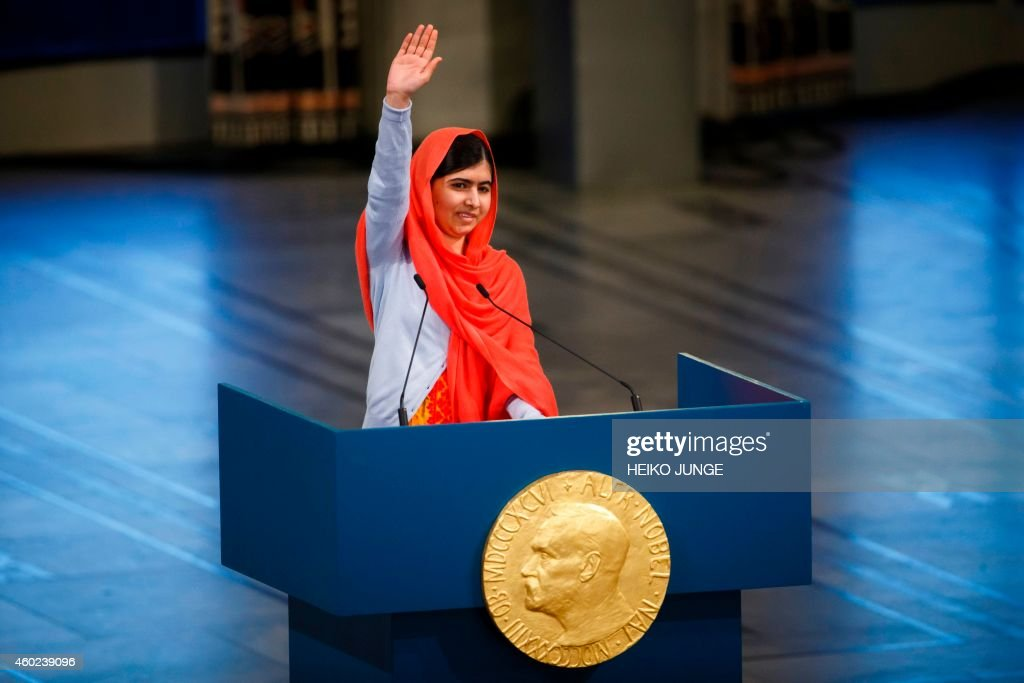 Nobel Peace Prize laureate Malala Yousafzai gives a speech during the Nobel Peace Prize awards ceremony at the City Hall in Oslo Norway on December...