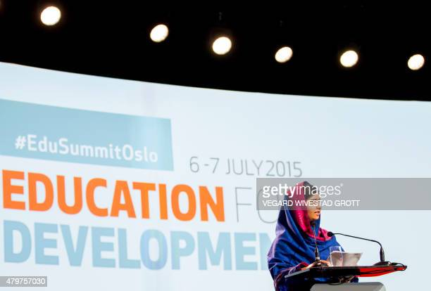 Nobel Peace Prize Laureate Malala Yousafzai speaks at the Oslo Summit on Education for Development at Oslo Plaza in Oslo Norway on July 2015 AFP...