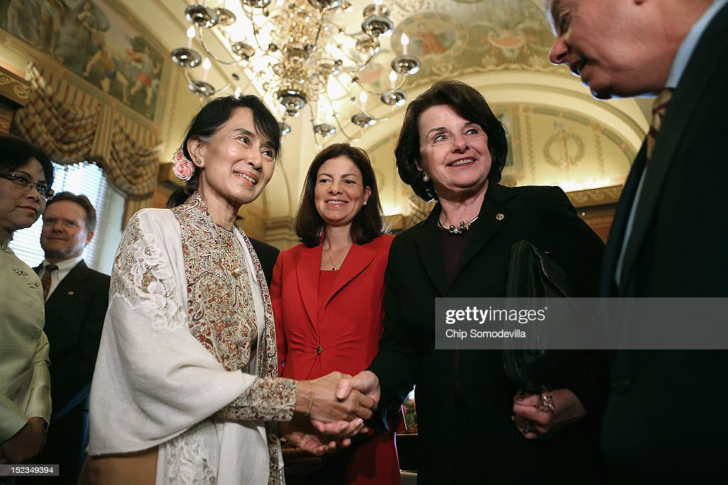 Nobel Peace Prize winner and Burmese pro-democracy opposition leader Aung San Suu Kyi (L) meets with Sen. Kelly Ayotte (R-NH), Sen. Dianne Feinstein (D-CA) and Sen. Lindsey Graham (R-SC) and other members of the U.S. Senate leadership at the U.S. Capitol September 19, 2012 in Washington, DC. Suu Kyi will receive the U.S. Congressional Gold Medal during her 18-day cross-country tour of the United States.