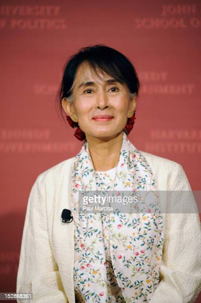 Nobel Peace Prize Winner and Democracy Activist Aung San Suu Kyi delivers the 2012 Annual Godkin Lecture at Harvard Kennedy School on September 27...
