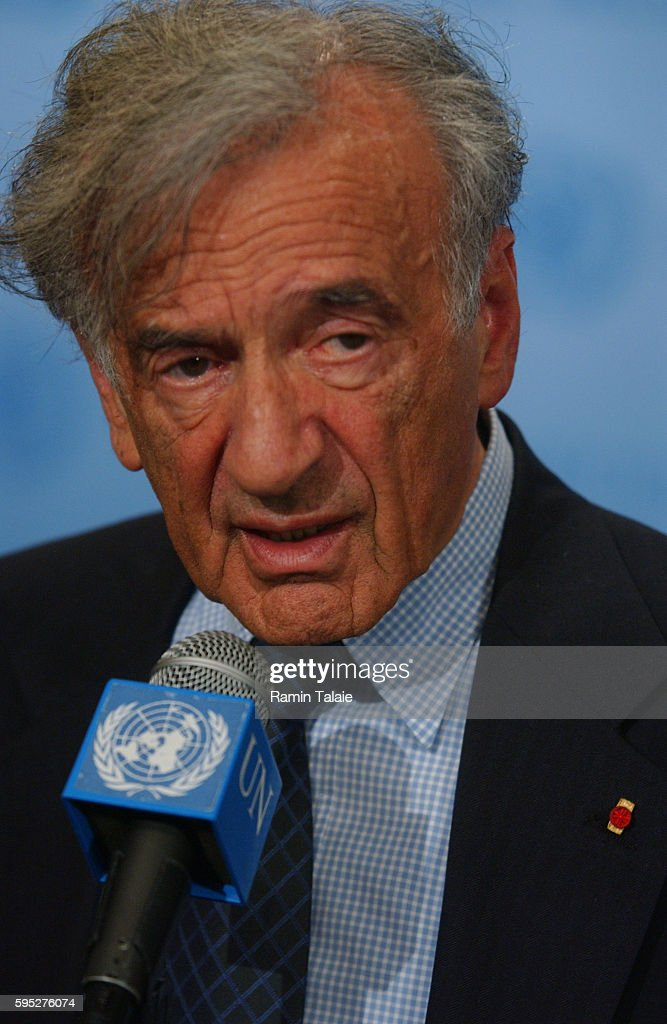Nobel Peace Prize winner Dr Elie Wiesel responds to questions during a news conference after addressing members of the Security Council on the human...