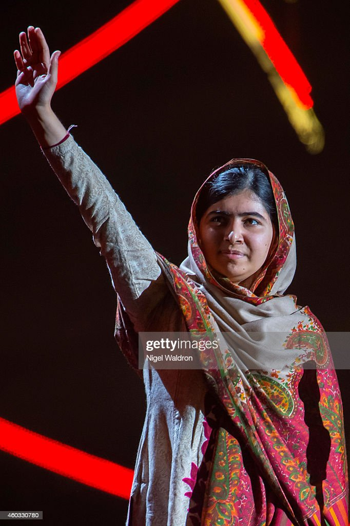 Nobel Peace Prize winner <a gi-track='captionPersonalityLinkClicked' href=/galleries/search?phrase=Malala+Yousafzai&family=editorial&specificpeople=5849423 ng-click='$event.stopPropagation()'>Malala Yousafzai</a> of Pakistan speaks to the audience during the Nobel Peace Prize concert at Oslo Spektrum on December 11, 2014 in Oslo, Norway. The Nobel Peace Concert is hosted by Queen Latifah to honour this year's Nobel Peace Prize winners Kailash Satyarthi of India and <a gi-track='captionPersonalityLinkClicked' href=/galleries/search?phrase=Malala+Yousafzai&family=editorial&specificpeople=5849423 ng-click='$event.stopPropagation()'>Malala Yousafzai</a> of Pakistan.
