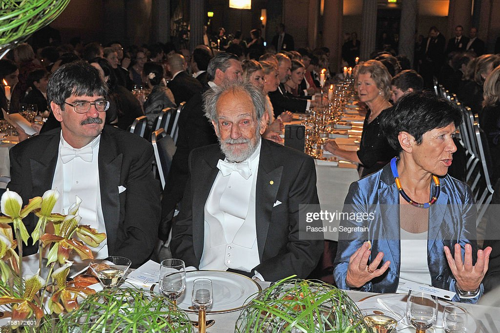 Nobel Prize in Economic Sciences laureate Professor Emeritus Lloyd S. Shapley of the USA (C) and guests attend the Nobel Banquet>> at Town Hall on December 10, 2012 in Stockholm, Sweden.