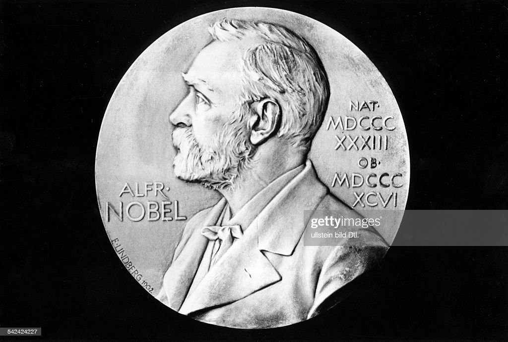 Nobel Prize in Literature front side of the medal with the portrait of donor Alfred Nobel