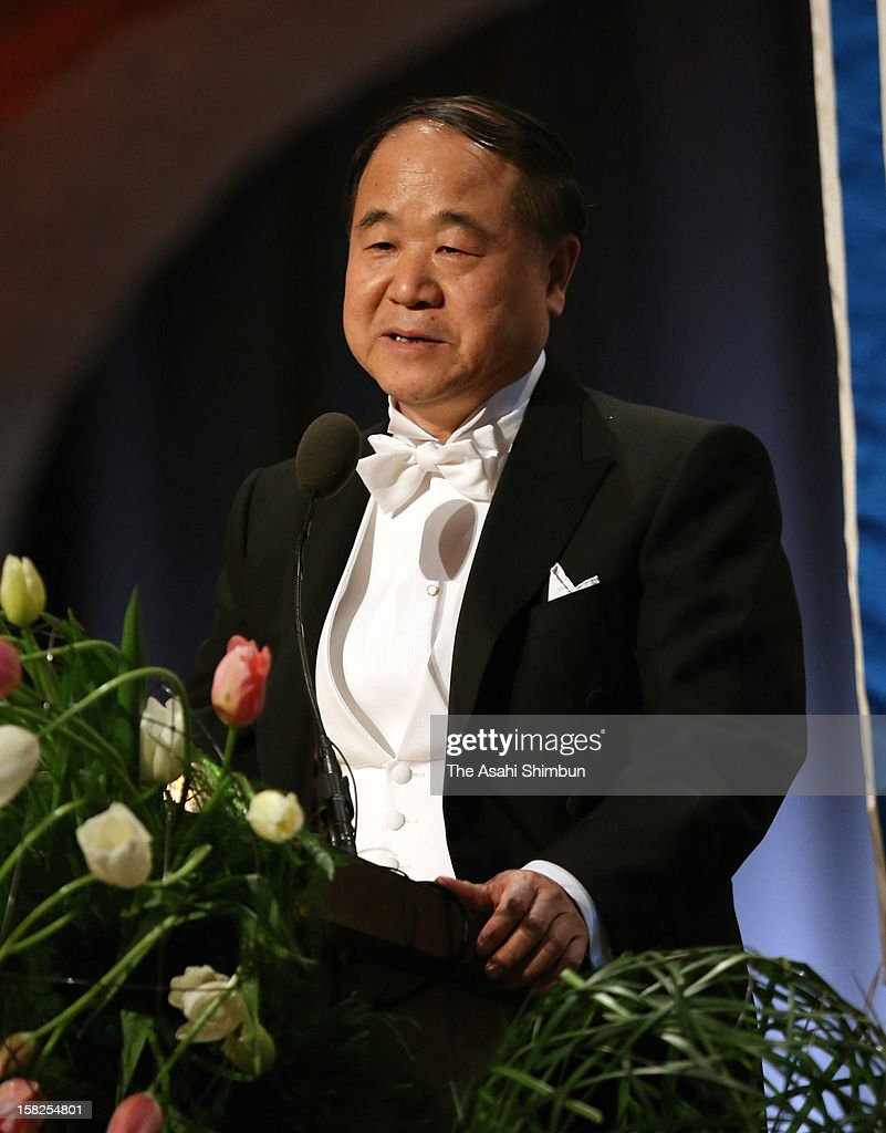 Nobel Prize in Literature <a gi-track='captionPersonalityLinkClicked' href=/galleries/search?phrase=Mo+Yan&family=editorial&specificpeople=3971964 ng-click='$event.stopPropagation()'>Mo Yan</a> of China addresses during the Nobel Banquet at Town Hall on December 10, 2012 in Stockholm, Sweden.