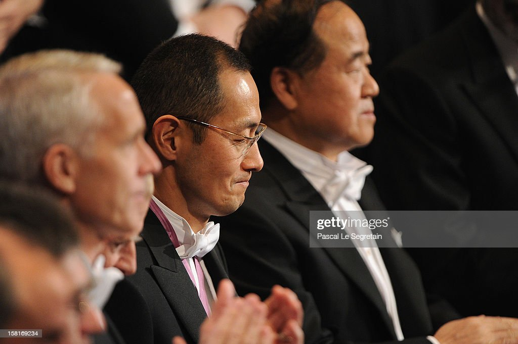 Nobel Prize in Medicine laureate Professor Shinya Yamanaka of Japan (C) looks on during the Nobel Prize Ceremony at Concert Hall on December 10, 2012 in Stockholm, Sweden.