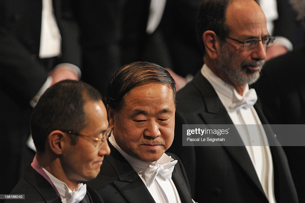 Nobel Prize in Medicine laureate Professor <a gi-track='captionPersonalityLinkClicked' href=/galleries/search?phrase=Shinya+Yamanaka&family=editorial&specificpeople=4810477 ng-click='$event.stopPropagation()'>Shinya Yamanaka</a> of Japan, Nobel Prize in Literature laureate, author <a gi-track='captionPersonalityLinkClicked' href=/galleries/search?phrase=Mo+Yan&family=editorial&specificpeople=3971964 ng-click='$event.stopPropagation()'>Mo Yan</a> of China, and Nobel Prize in Economic Sciences laureates Professor Alvin E. Roth of the USA attend the Nobel Prize Ceremony at Concert Hall on December 10, 2012 in Stockholm, Sweden.