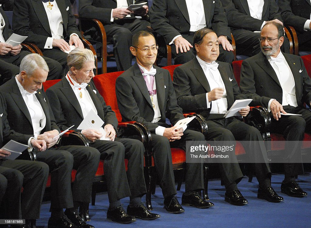 Nobel Prize in Medicine laureate Shinya Yamanaka (C) attends the Nobel Prize Award Ceremony at Concert Hall on December 10, 2012 in Stockholm, Sweden.