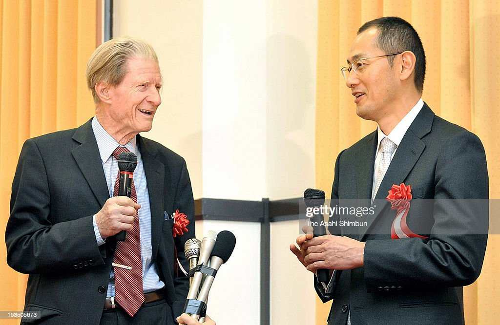 Nobel Prize In Medicine laureates Sir John Gurdon and Shinya Yamanaka attend a press conference on March 11, 2013 in Kyoto, Japan. Sir Gurdon is in Japan to attend an International Symposium hosted by Yamanaka's Center for iPS Cell Research and Application, Kyoto University. The two researchers have both been awarded the Nobel prize for medicine for their work as pioneers of stem cell research in 2012.