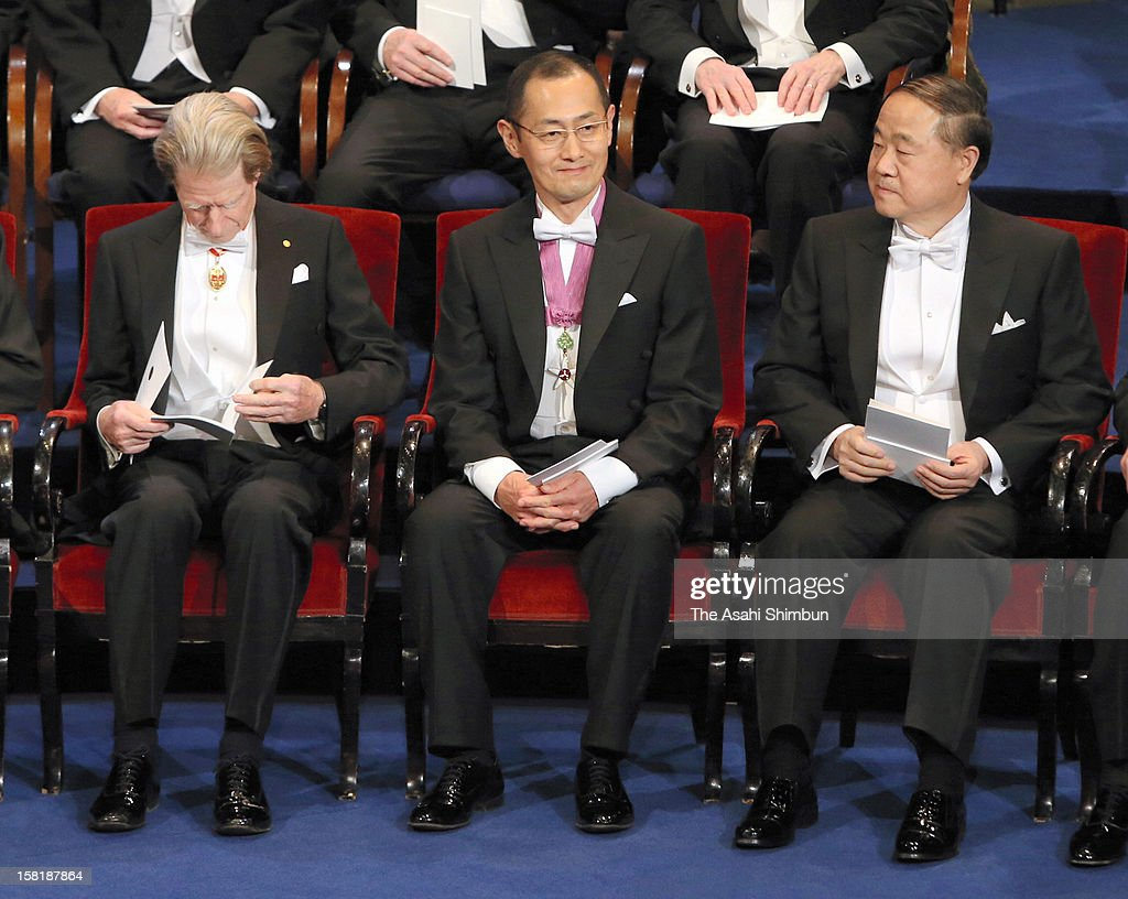 Nobel Prize in Medicine laureates Sir John Gurdon, Shinya Yamanaka and Nobel Prize in Literature Mo Yan attend the Nobel Prize Award Ceremony at Concert Hall on December 10, 2012 in Stockholm, Sweden.