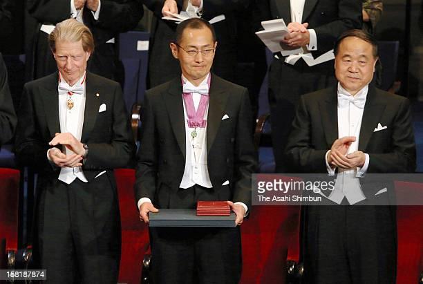 Nobel Prize in Medicine laureates Sir John Gurdon Shinya Yamanaka and Nobel Prize in Literature Mo Yan attend the Nobel Prize Award Ceremony at...