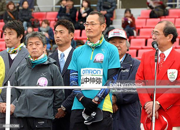 Nobel Prize in Physics laureate and Kyoto University professor Shinya Yamanaka participates the Kyoto Marathon on February 15 2015 in Kyoto Japan