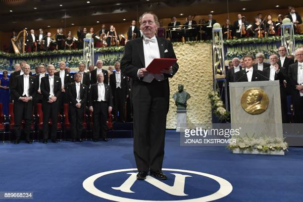 Nobel Prize in Physiology or Medicine 2017 laureate US geneticist and chronobiologist Jeffrey Connor Hall acknowledges applause after being awarded...