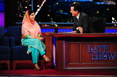 Nobel Prize Laureate Malala Yousafzai on The Late Show with Stephen Colbert Friday Sept 25 2015 on the CBS Television Network