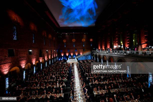Nobel prize laureates royals and guests attend the 2017 Nobel Banquet for the laureates in medicine chemistry physics literature and economics in...