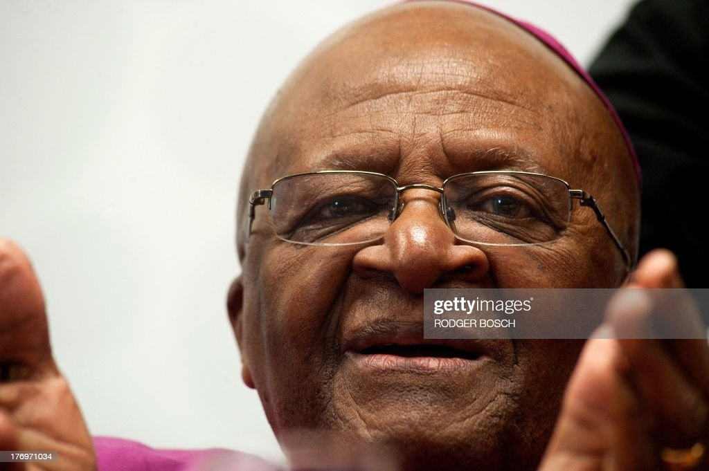 Nobel Prize Peace Laureate Archbishop Desmond Tutu attends the launching ceremony of a partnership between his foundation and other organizations at the University of Stellenbosch Medical School, on August 20, 2013, in Bellville, Cape Town. The partnership between the Desmond and Leah Tutu Legacy Foundation, Stellenbosch University, and Gender Reconciliation International will focus on the implementation of gender reconciliation, applying principles of South Africas truth and reconciliation process to restore peoples faith in one another.