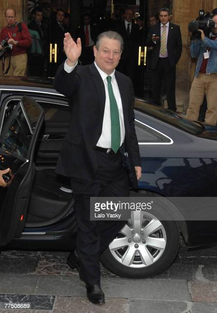 Nobel Prize Winner Al Gore arrives at the Reconquista Hotel on October 26 2007 in Oviedo Spain