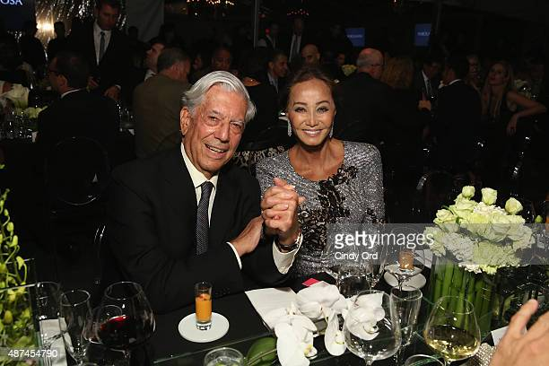 Nobel Prize Winner and Scholar Mario Vargas Llosa and Isabel Preysler attend Madison Square Park Conservancy's Fall Fundraising Gala in partnership...