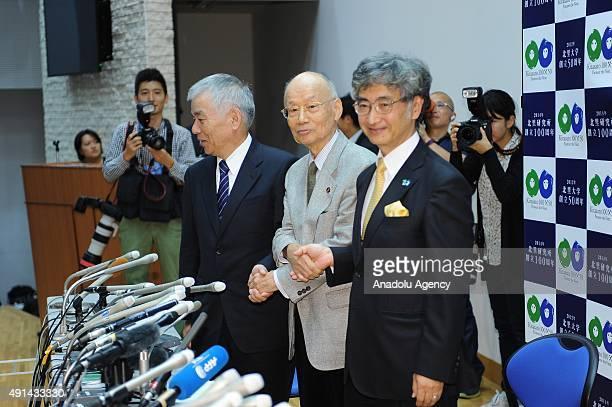 Nobel prize winner in medicine Professor Satoshi Omura poses with Kitasato University President Mobayashi Hirosuke and Fujii Kiyotaka Chairman of...