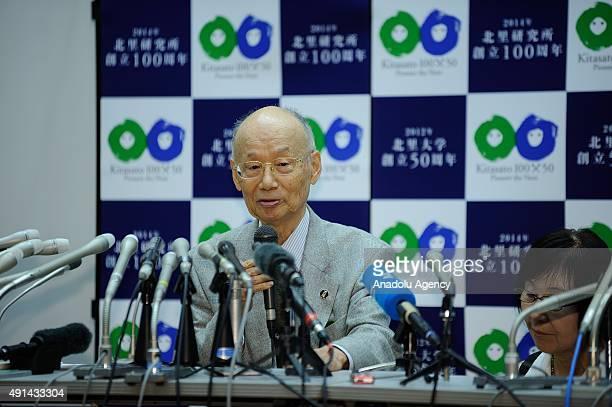 Nobel prize winner in medicine Professor Satoshi Omura speaks during a press conference at Kitasato University in Tokyo Japan on October 5 2015 The...