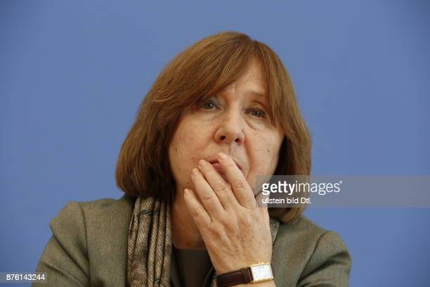 Nobel Prize winner Svetlana Alexijevitsch talks on October 10 two days after the announcement of the Nobel Prize for Literature in the Berlin Federal...