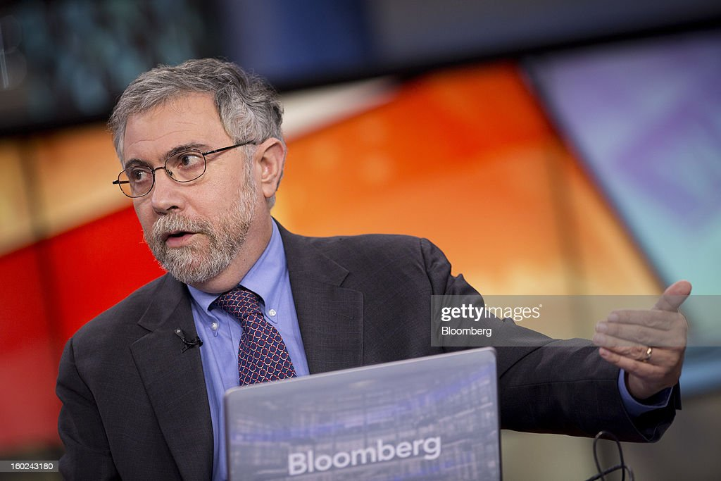Nobel Prize-winning Economist <a gi-track='captionPersonalityLinkClicked' href=/galleries/search?phrase=Paul+Krugman&family=editorial&specificpeople=1126777 ng-click='$event.stopPropagation()'>Paul Krugman</a>, professor of international trade and economics at Princeton University, speaks during a Bloomberg Television interview in New York, U.S., on Monday, Jan. 28, 2013. Krugman discussed the performance of bonds, Fed monetary policy, and the U.S. economy compared with that of Japan. Photographer: Scott Eells/Bloomberg via Getty Images