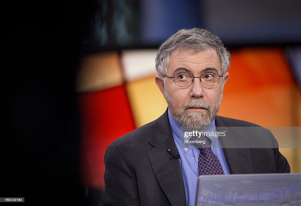 Nobel Prize-winning Economist <a gi-track='captionPersonalityLinkClicked' href=/galleries/search?phrase=Paul+Krugman&family=editorial&specificpeople=1126777 ng-click='$event.stopPropagation()'>Paul Krugman</a>, professor of international trade and economics at Princeton University, pauses during a Bloomberg Television interview in New York, U.S., on Monday, Jan. 28, 2013. Krugman discussed the performance of bonds, Fed monetary policy, and the U.S. economy compared with that of Japan. Photographer: Scott Eells/Bloomberg via Getty Images