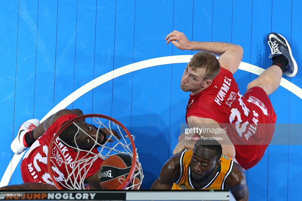 Noble BoungouColo for CSP Limoges Robbie Hummel and Charles Jenkins for EA7 Emporio Armani Milan Looks on during the Turkish Airlines Euroleague...
