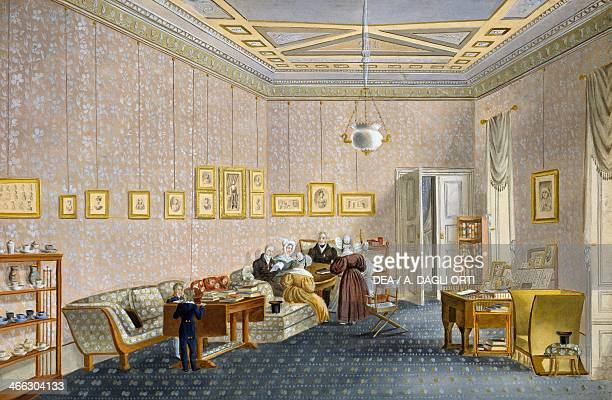 Noble family in a Biedermeier style drawing room ca 1830 watercolour Austria 19th century