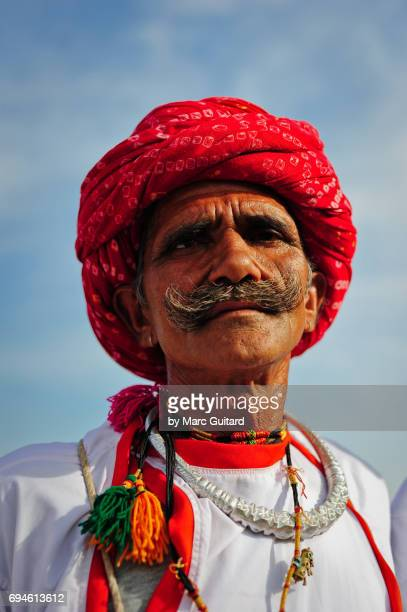 Noble man in a red turban, Jaipur Elephant Festival, Rajasthan, India