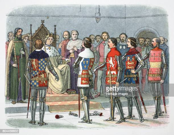Nobles before King Richard II Westminster 1387 Lords Arundel Gloucester Nottingham Derby and Warwick before the King who demands the removal of the...