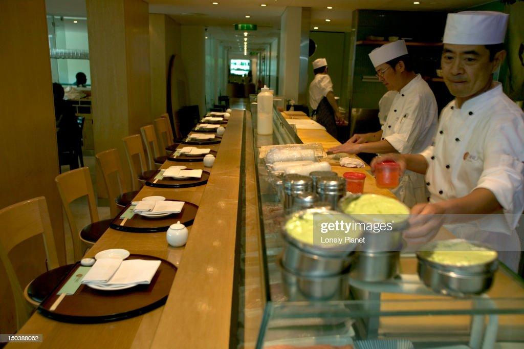 Nobu Japanese restaurant in the Metropolitan Hotel. : Stock Photo