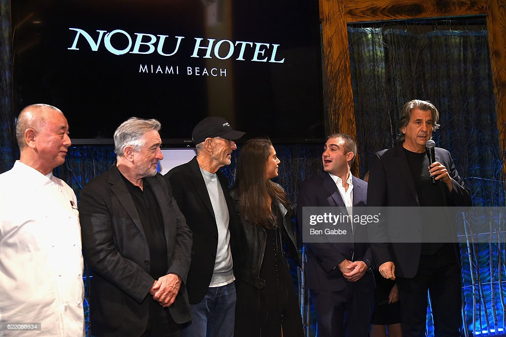 Nobu Matsuhis, Robert DeNiro, Meir Teper, Andrea Chapur, Rodrigo Chapur and David Rockwell speak onstage during the Nobu Hotel Miami Beach launch VIP cocktail at Nobu Next Door on November 7, 2016 in New York City.