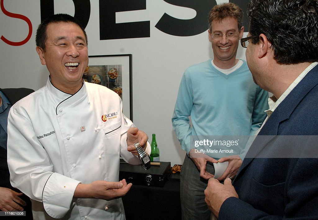 <a gi-track='captionPersonalityLinkClicked' href=/galleries/search?phrase=Nobu+Matsuhisa&family=editorial&specificpeople=4292658 ng-click='$event.stopPropagation()'>Nobu Matsuhisa</a> (left) and guests during Rado Meets Nobu Event Hosted by Gourmet Magazine to Benefit Save the Children - May 3, 2007 at Tourneau Time Machine in New York City, New York, United States.