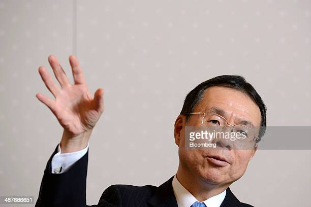 Nobuhide Hayashi president and chief executive officer of Mizuho Bank Ltd gestures as he speaks during an interview in Tokyo Japan on Thursday May 1...