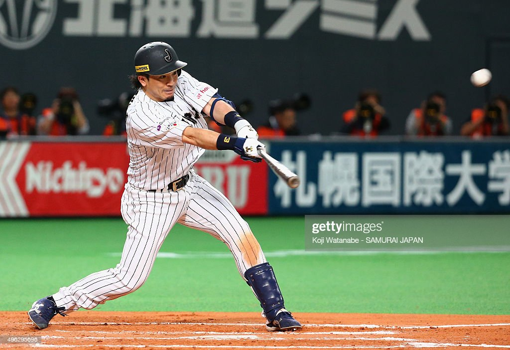 Nobuhiro Matsuda #3 of Japan hits a double in the bottom of the seventh inning during the WBSC Premier 12 match between Japan and South Korea at the Sapporo Dome on November 8, 2015 in Sapporo, Hokkaido, Japan.