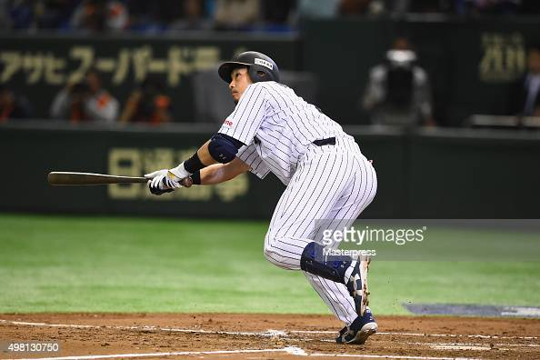 Nobuhiro Matsuda of Japan hits a tworun homerun in the bottom half of the second inning during the WBSC Premier 12 third place play off match between...