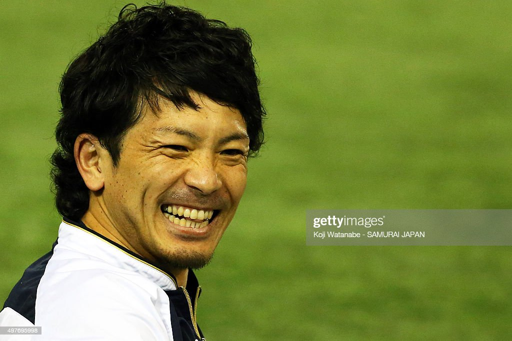 Nobuhiro Matsuda of Japan looks on a training session ahead of the WBSC Premier 12 semi final match against South Korea at the Tokyo Dome on November...
