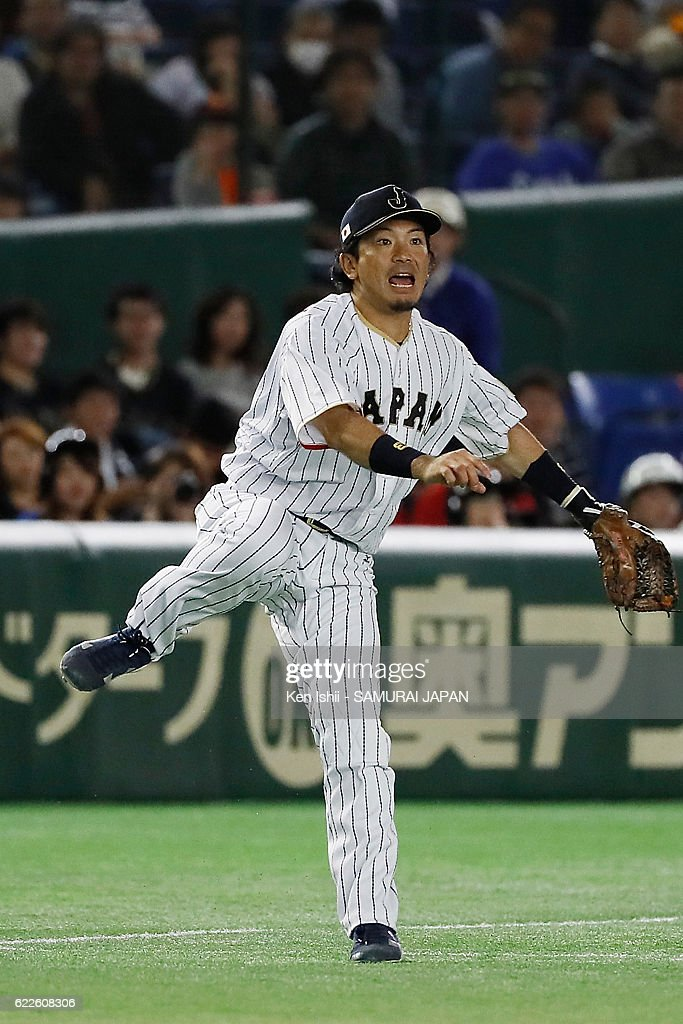Nobuhiro Matsuda #3 of Japan makes an error throw in the forth inning during the international friendly match between Japan and Netherlands at the Tokyo Dome on November 12, 2016 in Tokyo, Japan.
