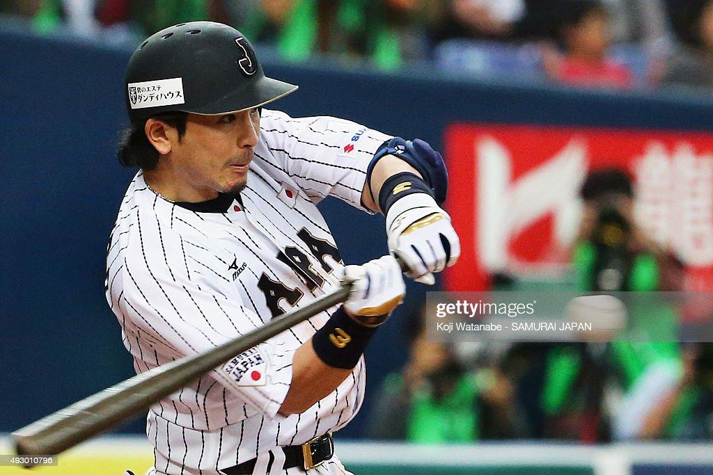 Nobuhiro Matsuda of Samurai Japan during the game one of Samurai Japan and MLB All Stars at Kyocera Dome Osaka on November 12 2014 in Osaka Japan