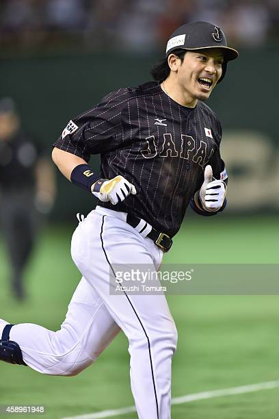 Nobuhiro Matsuda of Samurai Japan heads home after hitting a solo home run in the eighth inning during the game two of Samurai Japan and MLB All...