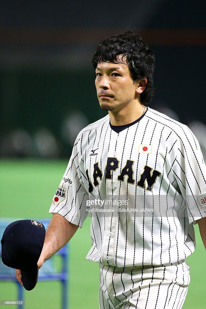 Nobuhiro Matsuda of Samurai Japan in action during a training session at Fukuoka Dome on November 4 2015 in Fukuoka Japan
