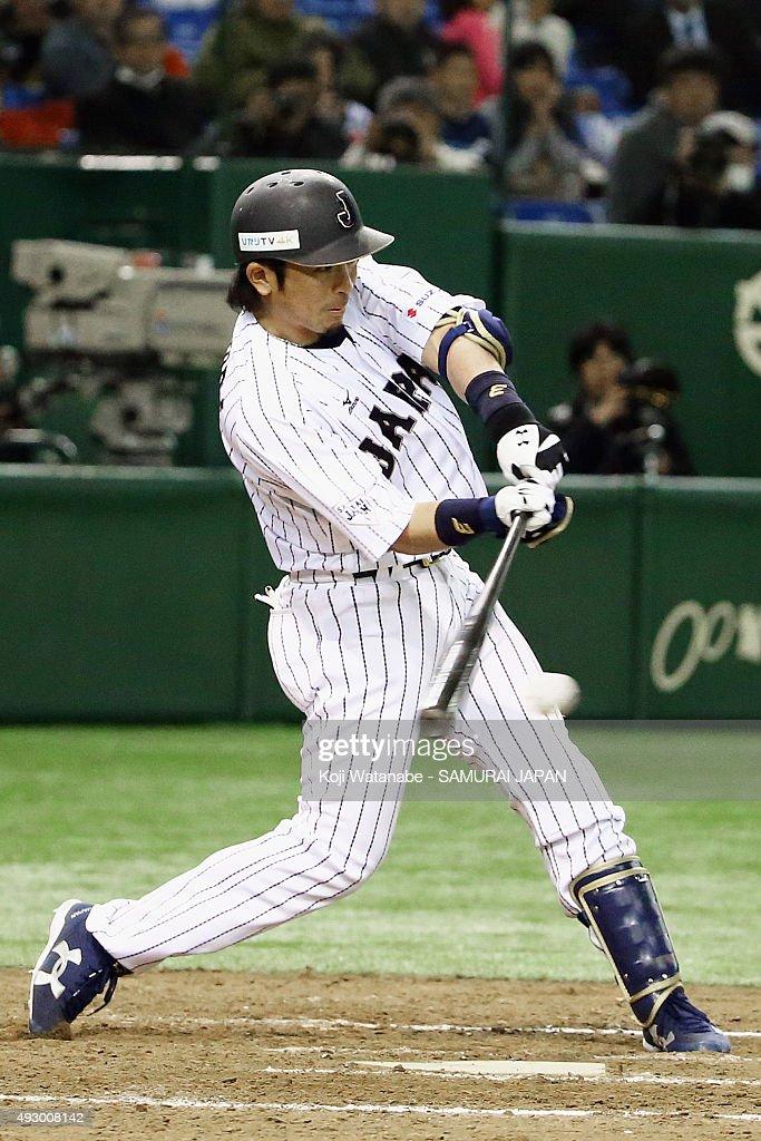 Nobuhiro Matsuda of Samurai Japan in action during Samurai Japan v All Euro match at the Tokyo Dome on March 10 2015 in Tokyo Japan