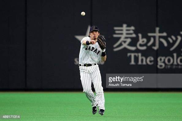 Nobuhiro Matsuda of Samurai Japan in action in the fifth inning during the game five of Samurai Japan and MLB All Stars at Sapporo Dome on November...