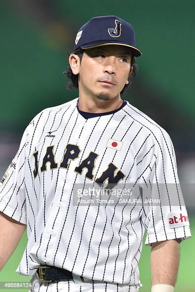 Nobuhiro Matsuda of Samurai Japan looks on during a training session at Fukuoka Dome on November 4 2015 in Fukuoka Japan