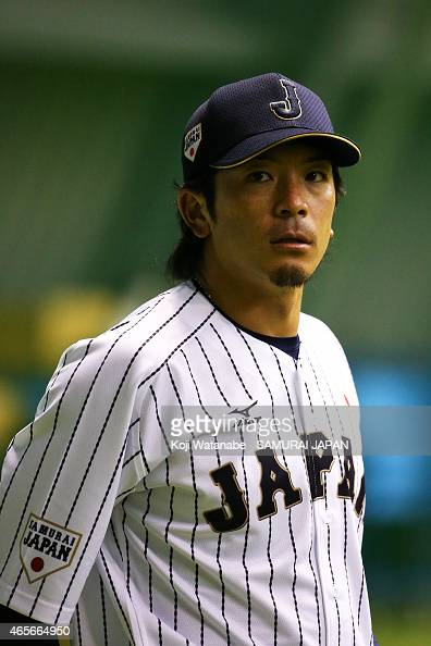 Nobuhiro Matsuda of Samurai Japan looks on the training session/team meeting ahead of the game between Samurai Japan and All Euro match at the Tokyo...
