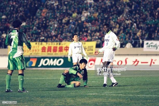 Nobuhiro Takeda of Verdy Kawasaki reacts during the JLeague match between Verdy Kawasaki and Bellmare Hiratsuka at the National Stadium on March 18...