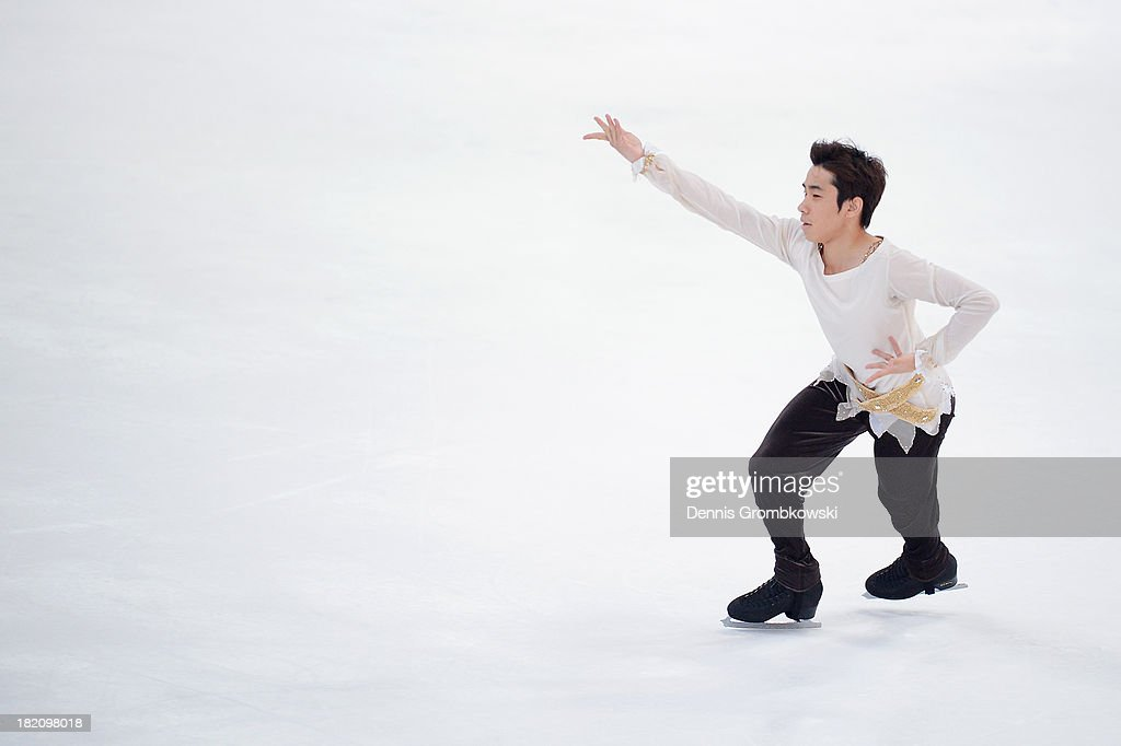 Nobunari Oda of Japan competes in the Men Free Skating competition during day three of the ISU Nebelhorn Trophy at Eissportzentrum Oberstdorf on September 28, 2013 in Oberstdorf, Germany.